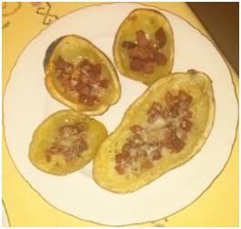patatas asadas con jamón y queso